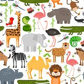 Постер, плакат: Jungle animals seamless pattern