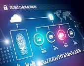 stock photo of fingerprint  - Online cloud network security concept with fingerprint and content - JPG