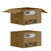 stock photo of fedex  - set of boxes isolated on white background - JPG
