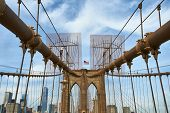 picture of brooklyn bridge  - Brooklyn bridge pillar - JPG