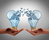 picture of lightbulb  - Ideas agreement Investing in business innovation concept and financial commerce backing of creativity as an open lightbulb symbol for funding potential innovative growth prospect through venture capital - JPG