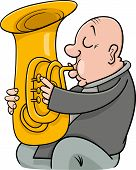 foto of trumpets  - Cartoon Illustration of Trumpeter Musician Playing the Tuba Wind Instrument - JPG