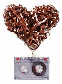 picture of magnetic tape  - Audio cassette with magnetic tape in shape of heart isolated on white - JPG