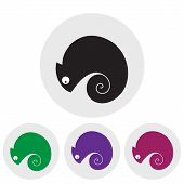 stock photo of chameleon  - Stylized silhouette of a chameleon in different colors on a light background - JPG