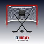 foto of ice hockey goal  - Ice hockey helmet hockey puck sticks and goal - JPG