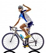 picture of triathlon  - woman triathlon ironman athlete  cyclist cycling on white background - JPG