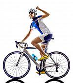 image of triathlon  - woman triathlon ironman athlete  cyclist cycling on white background - JPG
