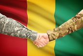 picture of guinea  - Soldiers shaking hands with flag on background  - JPG
