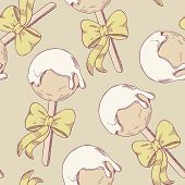 picture of cake pop  - Cake pops with bow seamless pattern - JPG
