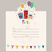 Happy Birthday Invitation.Birthday greeting card with gifts and balloons in bright colors. Sweet car poster