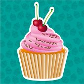 foto of cupcakes  - sticker cupcake on cupcakes pattern background vector illustration - JPG
