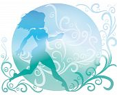 Background With Silhouette Of Running Girl And Ornament