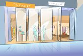 foto of shopping center  - Shopping Window Modern Luxury Shop in Mall Center Vector Illustration - JPG
