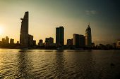 stock photo of breathtaking  - Panorama of Ho Chi Minh viewed over Saigon river - JPG