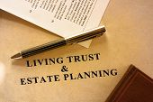 foto of trust  - Sepia shaded image of living trust and estate planning document - JPG
