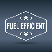 picture of fuel efficiency  - fuel efficient hexagonal white vintage retro style label - JPG