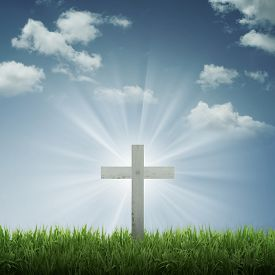 stock photo of christianity  - Christian cross with blue sky and cloud background - JPG