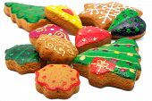 stock photo of christmas cookie  - Christmas cookies of different shapes - JPG