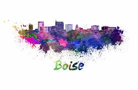 image of boise  - Boise skyline in watercolor splatters with clipping path - JPG