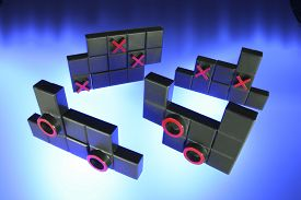 foto of tic  - Tic Tac Toe Puzzle on Blue Background - JPG