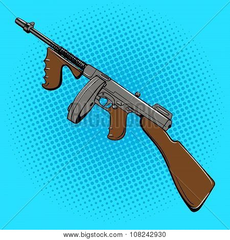 Automatic gun comic book style
