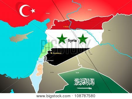 Syria Geopolitical Map With Proposed
