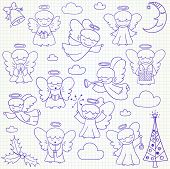 ������, ������: Set of vector Christmas angels and ornaments in doodle style included xmas tree mistletoe angels