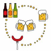 Постер, плакат: Beer Beer icons set Isolated beer elements on background