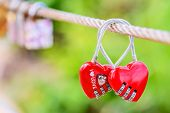 ������, ������: Two heart shaped love padlocks on the bridge as a symbol of eternal love and endless love
