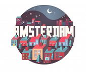 Amsterdam city in is a beautiful destination to visit for tourism. poster