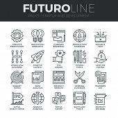 Startup And Development Futuro Line Icons Set poster