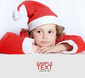 picture of gullible  - Portrait of little girl in Santa - JPG