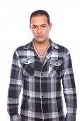 Man Wearing Checked Shirt