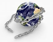 Metal Chain Wraped Around Earth Globe