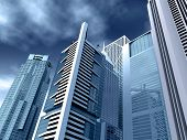 Corporate Buildings In Blue Tones