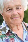 stock photo of elderly woman  - portrait of an elderly woman looking ahead - JPG