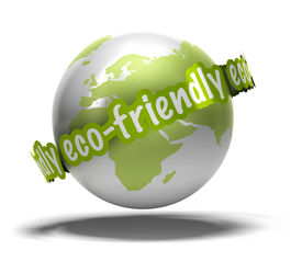 stock photo of environmentally friendly  - eco friendly written around the earth image 3d isolated over a white background - JPG