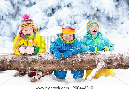 Kids Playing In Snow Children