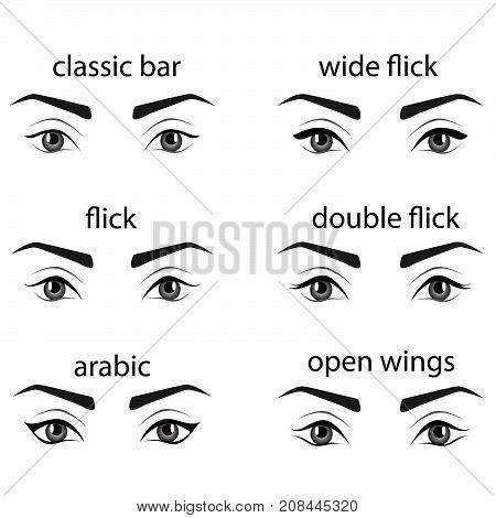 Various Types Of Eyeliner Vector Set Types Of Eye Makeup Eyeliner Shape Tutorial Illustration Of Eyebrow Line Make Up Isolated On White