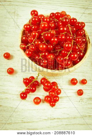 poster of Fresh Ripe Red Currants On Rustic Wood Background.