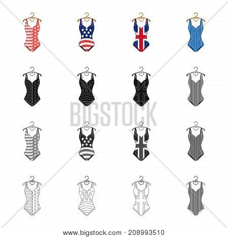 poster of Fashionable women's swimsuit. Different kinds of swimsuits set collection icons in cartoon black monochrome outline style vector symbol stock illustration .