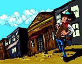 Xerife de vaqueiro dos desenhos animados em uma rua de cidade empoeirada