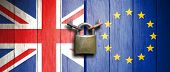 United Kingdom And European Union Flags On Wooden Door With Padlock. 3D Illustration poster