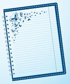 Page notebook with a pattern flittering butterflies vector