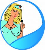 Nurse with stethoscope. Vector