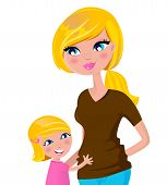Cute Blond Mother With Daughter - Isolated On White..