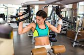 Attractive sporty woman doing exercise on shoulder press machine while focused on intensive workout  poster