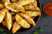 Potato Wedges With Cheese poster