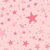 Pink Stars Seamless Pattern On Light Pink Background. Pleasant Endless Random Scattered Pink Stars F poster