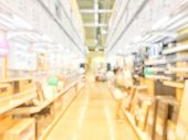 Blurred Image Of People Shopping In At Hardware Store Or Storehouse With Variety Of Indoor & Outdoor poster
